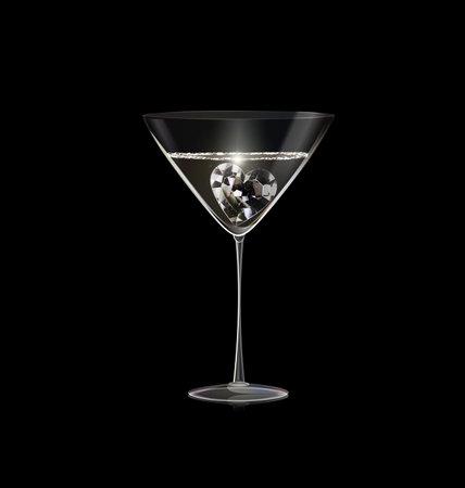 black background and glass of wine with light jewel diamond heart