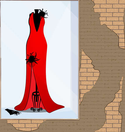 vector illistration stone wall showcase with red black dress