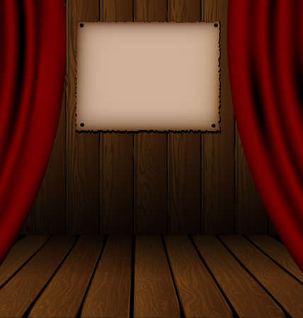 vector illustration red drape and wood theatre stage