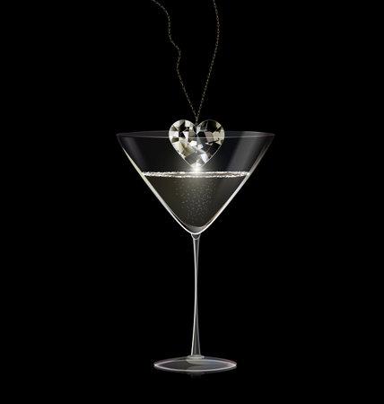 black background and glass of wine with jewel pendant diamond