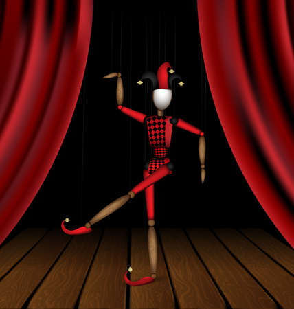 vector illustration wooden theater stage and Harlequin