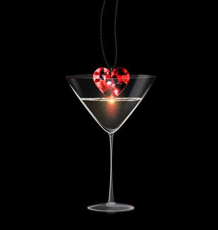 black background and glass of wine with jewel pendant red diamond Ilustracje wektorowe