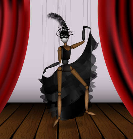 vector illustration theatre stage and wooden puppet in black