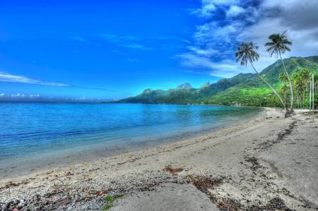 french polynesia: Deserted Beach Moorea French Polynesia