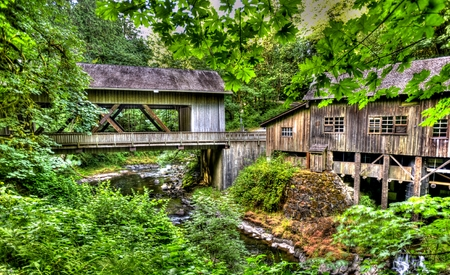 grist mill: Old Mill with Covered bridge S W  Washington State Editorial