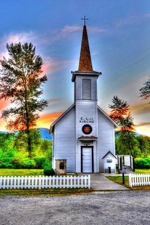 evangelical: Elbe Evangelical Lutheran Church Stock Photo