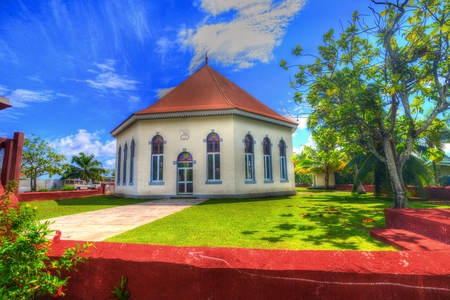 snorkle: Papetoai Moorea church Stock Photo