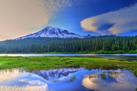 mount rainier: Reflection Lake Mount Rainier National Park Stock Photo