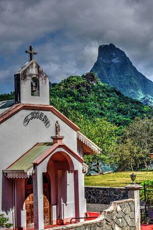 Pao Pao, église Moorea Banque d'images