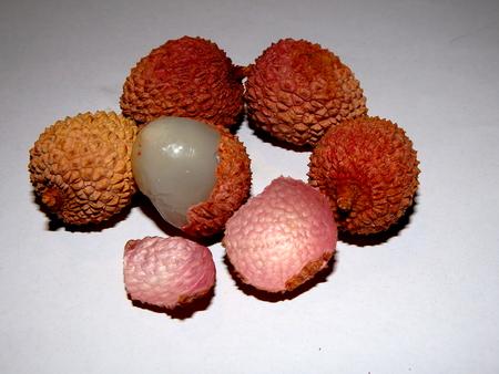lichi: lychee, fruits on a white background, fruit detail Stock Photo