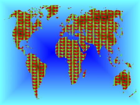 he is beautiful: illustrated background Valentines map of the world Stock Photo