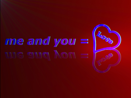 he is beautiful: illustrated background symbols of me and you , blue on red background Stock Photo