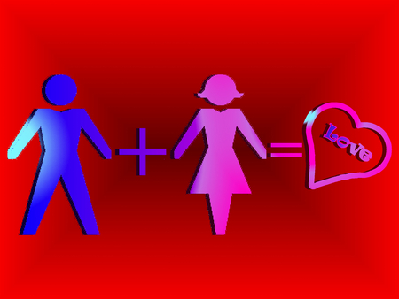 he is beautiful: illustrated background symbols of man and woman , blue on red background