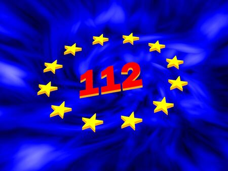 emergency number: 112 red on a blue background, the European emergency number 112,