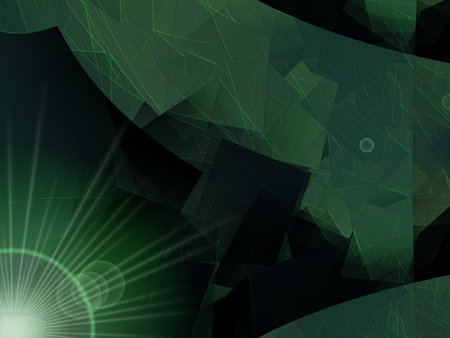 cubism: Modern green abstract background - cubism