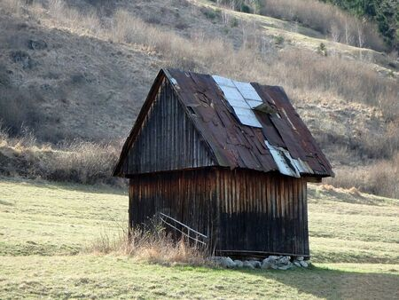 old barn: old barn in a meadow, barn and a meadow spring,