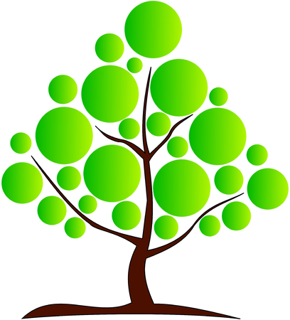 deciduous: deciduous tree, vector, green tree with a brown trunk Illustration