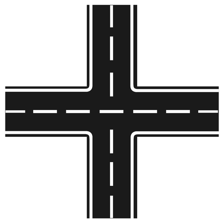 bifurcation: road junction, Illustration crossroads, highway intersection,
