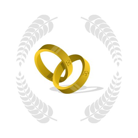 gold rings: Goldring, wedding rings, two gold rings, Illustration