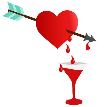 heart and arrow, red bleeding heart  ,
