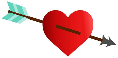 heart and arrow, red  heart  , Illustration