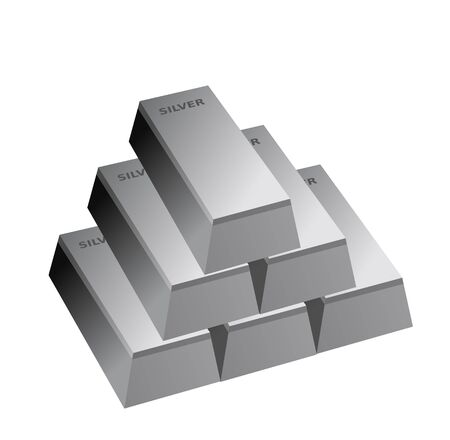 silver bars: silver bars , six silver bricks , Illustration