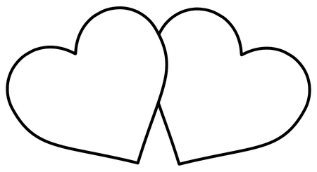simplified: two hearts , outlines two hearts , Illustration
