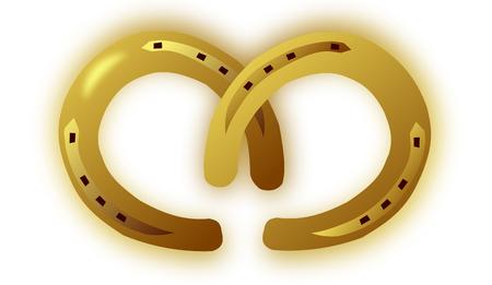 two horseshoe for good luck , two Golden Horseshoe