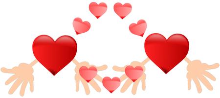 dos corazones, dos corazones rojos,