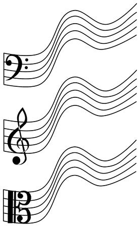 bass clef: treble clef, bass clef, viola,