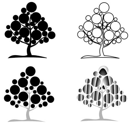 deciduous tree: deciduous tree, vector, contour deciduous tree ,