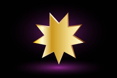 bahai: Bahai symbol  on purple background , Bahai symbol, Illustration