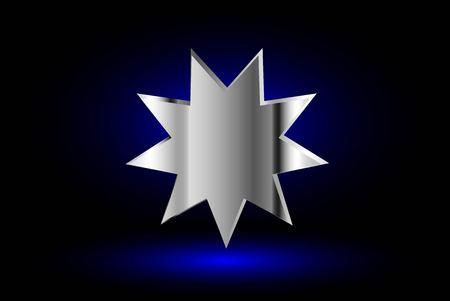 bahai: Bahai symbol  on blue background , Bahai symbol,