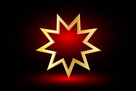 bahai: Bahai symbol  on red background , Bahai symbol,