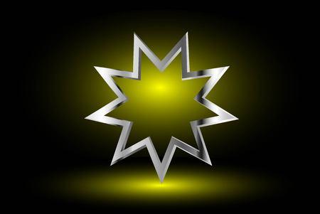 bahai: Bahai symbol  on yellow background , Bahai symbol,