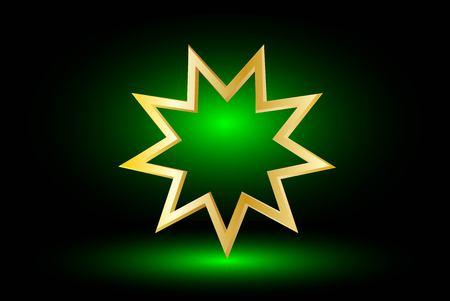 bahai: Bahai symbol  on green background , Bahai symbol,