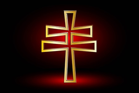 double cross: cross on a red background ,double religious cross , Christian double cross, Illustration