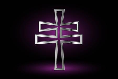 double cross: cross on a purple background ,double religious cross , Christian double cross,