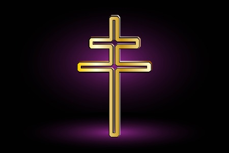 double cross: cross on a purple background ,double religious cross , Christian double cross,