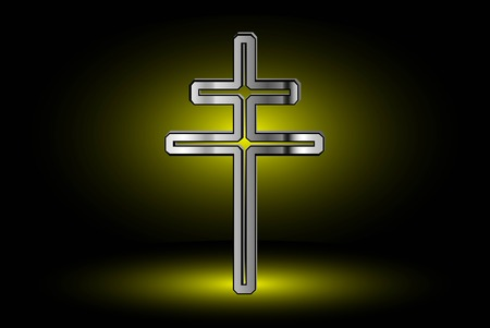 double cross: cross on a yellow background ,double religious cross , Christian double cross,