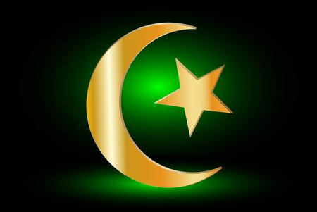 Muslim symbol ,Islam Symbol ,Crescent and Star,  icon of Islam  on a green background ,
