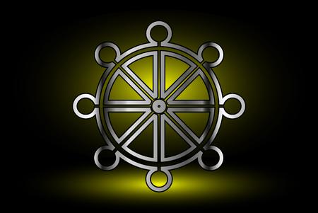 Wheel of Dharma,symbol of Buddhism , Illustration