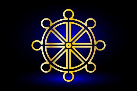 dharma: Wheel of Dharma,symbol of Buddhism , Illustration