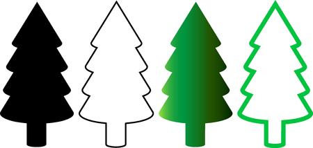 coniferous tree: coniferous tree , Vector silhouette of  trees , Illustration