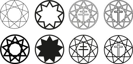 bahai: Nine pointed star , stars in a circle  ,Star and Cross, Illustration