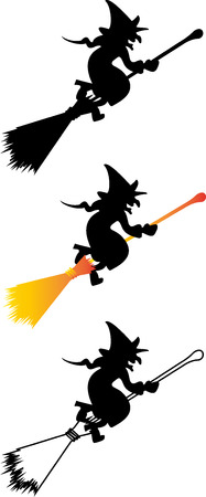 hag: Witch on a broomstick, witch, hag, harridan,