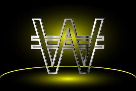 won: Korean won icon , won vector ,Currency symbol vector illustration,