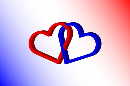 zwei Herzen, zwei miteinander verbundene Herzen, Liebe Herzen, Vektorgrafik