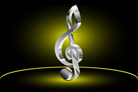 quaver: Violin key, music clef symbol, Illustration