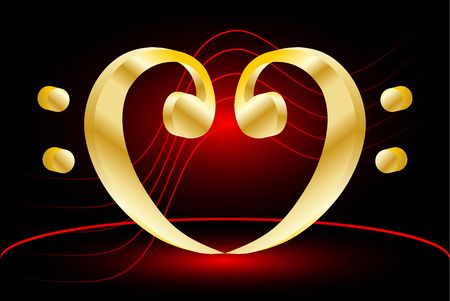 conductor: Heart - bass clef, Music note stave and heart bass clef,